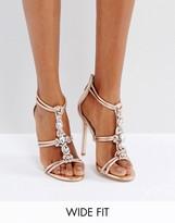 Asos HIGH SHINE Wide Fit Embellished Heeled Sandals
