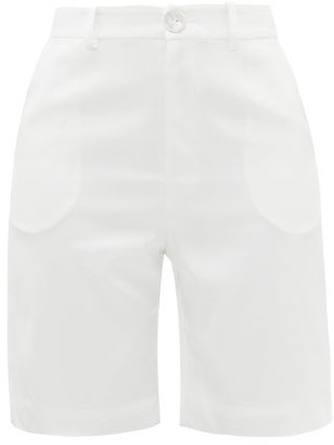 ALBUS LUMEN High-rise Silk-satin Suit Shorts - White