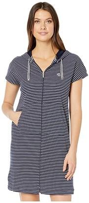 Lauren Ralph Lauren Cotton Polyester Interlock Drop Shoulder Hooded Zip Lounger (Navy Stripe) Women's Clothing