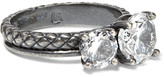 Bottega Veneta Oxidized Sterling Silver Cubic Zirconia Ring - 15