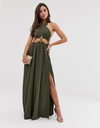 Asos Design DESIGN maxi dress with cross neck and cut out waist detail-Green
