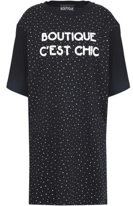 Boutique Moschino Crystal-embellished Printed Cotton-jersey Mini Dress