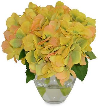 "9"" Hydrangea Arrangement - Faux - The French Bee - arrangement, yellow/green; vessel, clear"