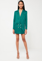 Missguided Teal Satin Button Blazer Dress