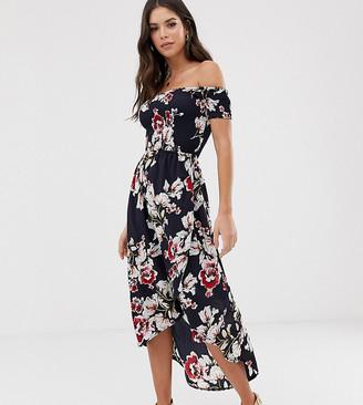 Parisian Tall off shoulder midi dress in floral print-Navy