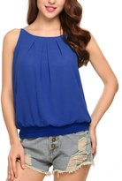 Meaneor Women's Sleeveless Halterneck Tank Crop Tops Vest Blouse T-Shirt