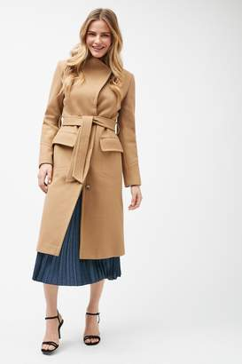 Next Womens Camel Belted Coat - Natural