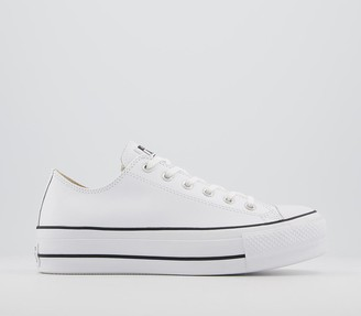 Converse Low Platform Trainers White Black Leather
