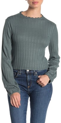 Abound Lettuce Edge Long Sleeve Ribbed Crop Top