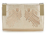 Kate Landry Metallic Tribal Perforated Clutch
