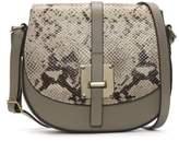 Daniel Mumble Beige Reptile Leather Metal Trim Satchel Bag