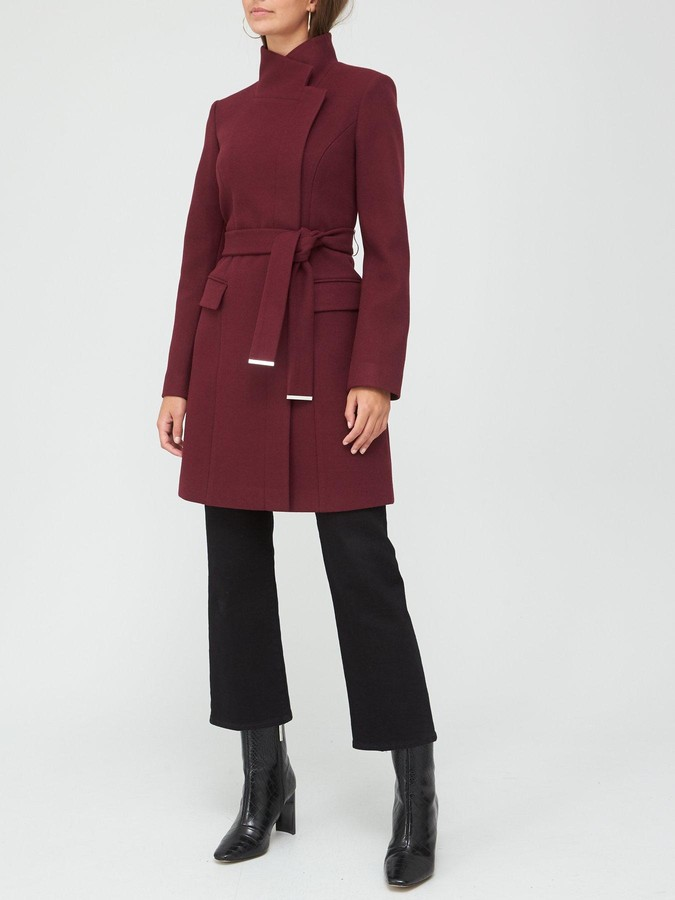 Thumbnail for your product : Very Funnel Neck Coat - Plum