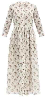 Brock Collection Floral-print Cotton-blend Poplin Maxi Shirt Dress - White Print