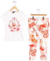 Roberto Cavalli Girls' Floral Print Embellished Pant Set w/ Tags