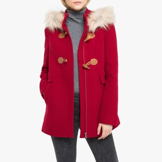 La Redoute Collections Hooded Duffle Coat with Faux Fur Trim and Pockets