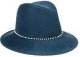 Eugenia Kim Bianca Faux Pearl-embellished Wool-felt Fedora - Storm blue