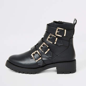 River Island Black buckle strap chunky ankle boots