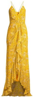Jay Godfrey Elsie Paisley Ruffle Maxi Dress