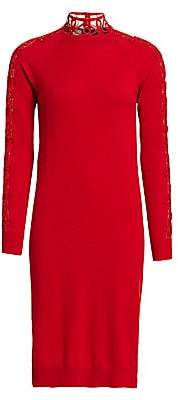 Fendi Women's Lace Insert Cashmere-Blend Sweater Dress