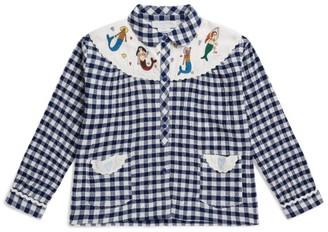 Stella McCartney Mermaid Embroidered Check Shirt