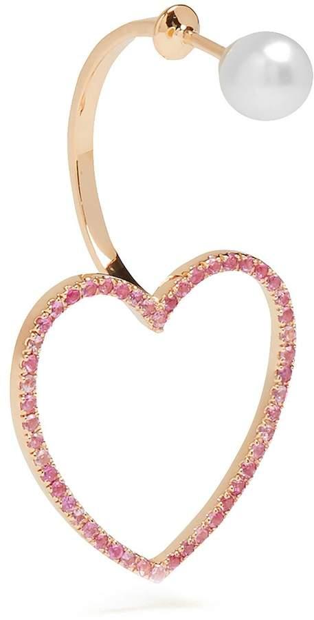 Delfina Delettrez Sapphire, pearl & pink-gold single earring