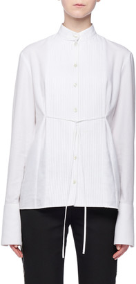 Victoria Victoria Beckham Band-Collar Pintucked Button-Front Long-Sleeve Tie-Waist Cotton Pique Shirt