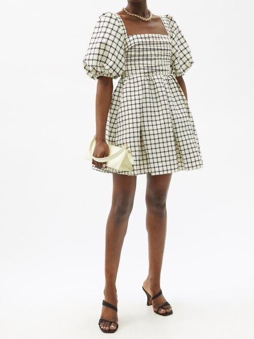 Thumbnail for your product : Self-Portrait Puff-sleeve Checked Taffeta Mini Dress - Beige Multi