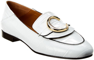 Chloé C Croc-Embossed Leather Loafer