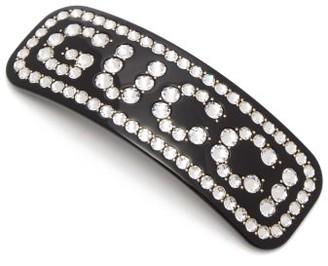 Gucci - Crystal Logo Resin Hair Slide - Womens - Black