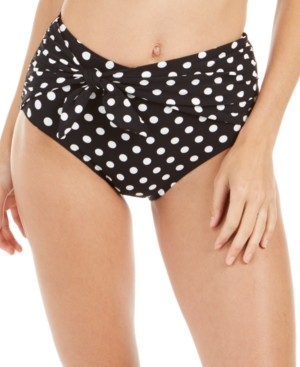 Kate Spade Tie-Front High-Waist Polka Dot Bikini Bottoms Women's Swimsuit