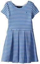 Polo Ralph Lauren Striped Ponte Pleated Dress Girl's Dress