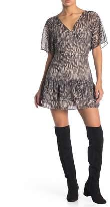 AllSaints Marley Zebra Print Ruffle Dress