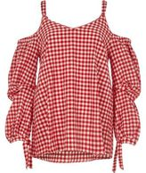 River Island Womens Red gingham cold shoulder puff sleeve top