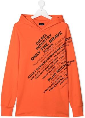 Diesel TEEN logo print hoodie