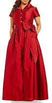 Adrianna Papell Plus Button-Down Collar Short Sleeve Tie-Sash Taffeta Gown