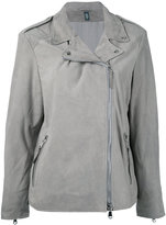 Eleventy loose-fit biker jacket - women - Polyester/Leather - 40