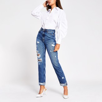 River Island Womens Blue Carrie high rise ripped jean