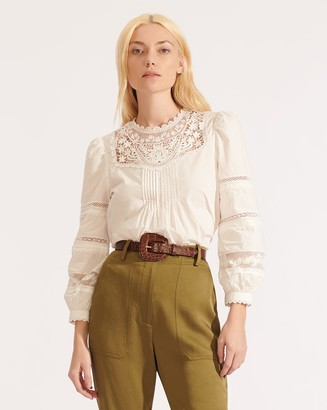 Veronica Beard Bessie Embroidered Top
