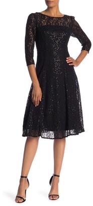Slny 3/4 Sleeve Tea Length Lace Dress