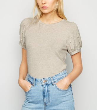 New Look Faux Pearl Puff Sleeve T-Shirt