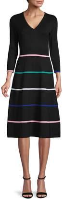 Eliza J Long-Sleeve V-Neck Stripe Sweater Dress