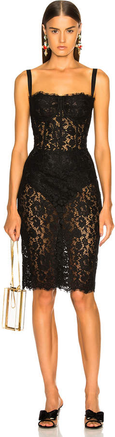 Dolce & Gabbana Lace Bustier Dress in Black | FWRD