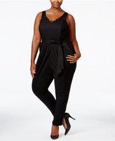 Melissa McCarthy Trendy Plus Size Belted Jumpsuit