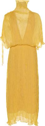Ellery Santorini Sheer Plisse Midi Dress