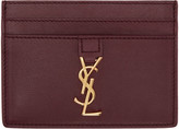 Saint Laurent Burgundy Leather Card Holder