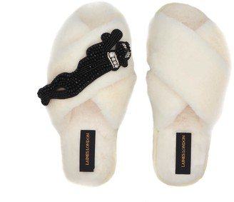 Laines London Cream Fluffy Slippers with Jet Panther Brooch