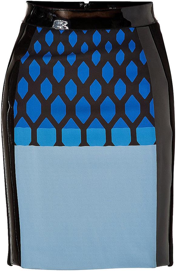 David Koma Blue-Multi Printed Neoprene Skirt with Leather Trim
