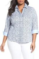 Foxcroft Plus Size Women's Taylor Scroll Non-Iron Shirt