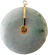 One Kings Lane Vintage Jade Bi Disc Pendant - green/gold
