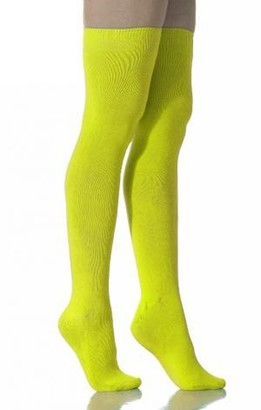 Crazy Chick Girls Teens Ladies Neon Plain Socks In 8 Vibrant Colours Over The Knee Socks / Knee High (Yellow)